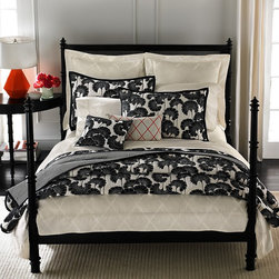 Kate Spade New York Magnolia Park Bedding, Japanese Floral, Queen - When changing out bedding for spring, most people think of bright colors, but a black and white quilt paired with sharp white sheets puts a new spin on spring.