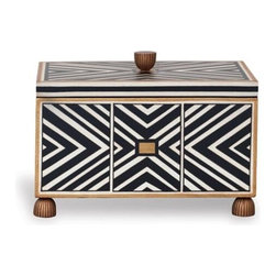 Port 68 - Port 68 Pompano Box - Graphic and Modern. Our hand lacquered wood box has accents of gold edging, with a bold black and white pattern. Fluted feet and finial complete the box. Velvet lined interior.