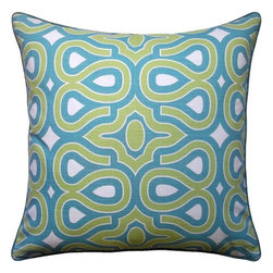 5 Surry Lane - HGTV Turquoise Modern Turtleshell Pillow - Vivify your space with this bold curvaceous patterned pillow. Crafted in a palette of juicy colors, the pillow is sure to add a dash of pattern and pep.  Same fabric front and back.  Down feather insert included.  Hidden zipper closure.  Made in the USA.
