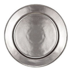 "Juliska - Juliska Pewter Stoneware Round Charger Plate - Juliska Pewter Stoneware Round Charger PlateUniting past romance with cool modernism, the polished style of this large charger looks like it is bathed in perpetual candlelight. Build your table setting or serve appetizers with this stunning foundation piece that is equally at home in a dazzling Manhattan duplex or stone cottage. Dimensions: 14"" W"