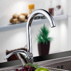 JollyHome - JollyHome Single Handle Discount Kitchen Faucets Silver - Made of excellent copper ZH59, fine electroplated and polished.Perfect stream quality even under difficult flow conditions.Very low noise level; extended life.Easy to keep clean and maintain.Accessories included