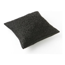 "Best Home Fashion - Faux Silk Hand Beaded Decorative Pillow Cover- 18"" x 18"", Black - Handmade bead pillow is the perfect decor piece for any sofa, chair, or bed"