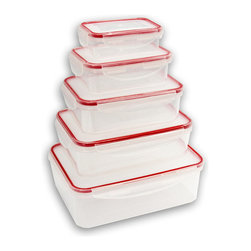 Vanderbilt Home - Red 10-Piece Container Set - Make kitchen storage easy with this set of containers that'll keep food fresh and cabinets uncluttered. Different sizes mean there's always one that's just right, whether filled with cereal, baking supplies or grains. Plus, smart snap-close lids keep contents safe.   Includes 3.6 L container, 2.3 L container, 1.5 L container, 800 ml container, 400-ml container and five lids Plastic Dishwasher-safe Imported