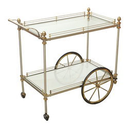 Italian Brass and Brushed Metal Bar Cart, style of Maison Jansen -
