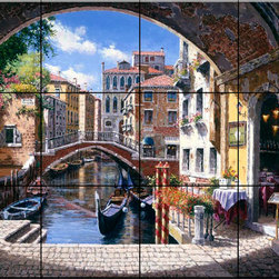 The Tile Mural Store (USA) - Tile Mural - Archway To Venice - Kitchen Backsplash Ideas - This beautiful artwork by Sam Park has been digitally reproduced for tiles and depicts a canalway in Venice as seen through an archway.  Our kitchen tile murals are perfect to use as part of your kitchen backsplash tile project. Add interest to your kitchen backsplash wall with a decorative tile mural. If you are remodeling your kitchen or building a new home, install a tile mural above your stove top or install a tile mural above your sink. Adding a decorative tile mural to your backsplash is a wonderful idea and will liven up the space behind your cooktop or sink.