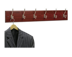 Safco - Safco 6 Hook Wood Wall Coat Rack in Mahogany (Set of 6) - Safco - Coat Racks - 4217MH - These 6 hook hardwood coat rack panels can be mounted alone or in a series as needs grow. Ball tipped hooks protect garments while keeping them firmly in place. Packed 6 per carton.