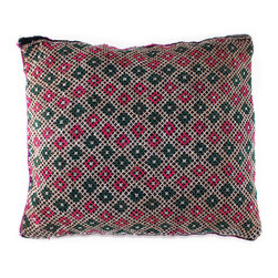 Diamond Weave Moroccan Pillow - Diamond in the rough. Made from a vintage bebere rug, this pillow features an all-over diamond pattern. Use it to give your sofa, chair or bed a Moroccan makeover.