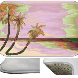 Palms In Purple Plush Bath Mat, 30X20 - Bath mats from my original art and designs. Super soft plush fabric with a non skid backing. Eco friendly water base dyes that will not fade or alter the texture of the fabric. Washable 100 % polyester and mold resistant. Great for the bath room or anywhere in the home. At 1/2 inch thick our mats are softer and more plush than the typical comfort mats.Your toes will love you.