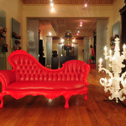 Tufted Red Leather Chaise