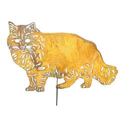 Rustica Ornamentals - Cat Garden Stake or Wall Hanging - This handcrafted Long Haired Cat Garden Stake or Wall Hanging is the perfect fit for any yard or garden. Add charm and fun to your home or garden decor.