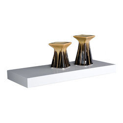 "Southern Enterprises Inc - Southern Enterprises Inc Cadence Floating Shelf 36""-White - Display a dynamic arrangement of d&#233cor on this floating wall shelf for an instant update. The simple style and white finish adapt with any home, from traditional to contemporary. Adorn the 36"" wide surface with art or photos, chic decorative items, or small treasures to give your room an original look.  - FEATURES:                                                                                             - No assembly required: ready to hang                                                                   - Floats without visible screws, connectors, or tracks                                                  - White finish                                                                                          - PRODUCT SPECIFICATIONS:                                                                               - Approx. weight: 10.5 lb.                                                                              - Supports up to: 20 lb.                                                                                - Materials: MDF, particle board, metal sheet, metal tube                                               - Includes mounting bracket for sturdy installation                                                     - Overall: 36"" W x 10"" D x 2"" H"