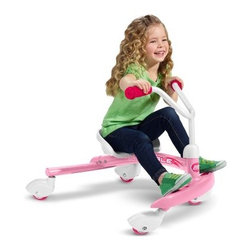 Radio Flyer Pink Ziggle - Send your child on a fun and fast ride that they'll love with the Radio Flyer Pink Ziggle. This fun ride has a strong and durable steel frame that's made to last for years. Designed for children ages three to six the Ziggle allows advanced riders to gain speed and drift into a 360 degree spin for added fun. Four castor wheels offer a fun fast ride while the grip tape provides added control. Padded hand grips make this ride more comfortable and the adjustable seat grows with your child. A fun toy for any child you'll love getting outside with them and laughing and playing while they wiggle their way around. Additional Features Adjustable seat grows with your child Grip tape for feet provides added control Comfortable padded hand grips Holds up to 81 pounds Fun pink finish Includes a 1-year warranty About Radio FlyerLike the Original Red Wagon that lent the company its name Radio Flyer has become an American classic. From humble beginnings Radio Flyer has been rediscovered with each new generation - creating a legacy of toys that continue to spark the imagination. For over 90 years millions of children have played with Radio Flyer wagons launching countless voyages of imagination. Their beauty simplicity and standards of safety encourage adventure discovery and the wonders of childhood. As the new millennium gains momentum Radio Flyer is still in the driver's seat - creating tomorrow's innovative products with the same classic quality and sheer sense of play that have been their trademarks from the beginning. Radio Flyer wagons are truly icons of Americana.