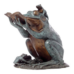 Randolph Rose - Frog Prince Reading Book - Unique Bronze Sculpture of a Frog Prince Reading a Book! Larger than Life-Size, Statue Includes Two Baby Frogs Listening to Story Time.