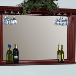 American Heritage Billiards - AHB Napoli Back Bar Mirror - 100810ET.1 - Shop for Mirrors from Hayneedle.com! You'll be toasting to the traditional elegance the AHB Napoli Back Bar Mirror brings to the bar. Crafted with solid poplar in a finish of your choice this large mirror is ideally appointed for the home bar. A shelf at the base is perfect for wine and liquor bottles and at the top an integrated stemware rack gives you a place to artfully store and display wine glasses. Beveled-edge glass is clear and space-opening and traditional details like carved accents and molding make this an accessory for a homey place where everyone knows your name.American Heritage BilliardsBefore founding American Heritage Billiards back in 1987 the owners were building pool tables in high school learning the industry from the ground up. Today their 170 000 sq.-ft.-facility centrally located in Cleveland Ohio is the largest billiards manufacturer in the world the leader in design selection service and value.Each item of entertainment furniture is meticulously designed and engineered to withstand the test of time utilizing old-fashioned wood joinery methods. The vast majority of our metal products have welded joints to provide a lifetime of carefree service.