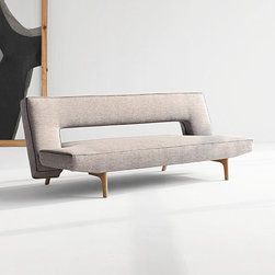 Horizontal Zipper Sofa-Bed - This contemporary design features a convertible sofa-bed in a classic light gray with lacquered oak legs. Aestheticism meets functionality in this expertly crafted, eye-sharpening furniture piece that will provide comfort while sitting or sleeping, and will add a chic pop to your room.