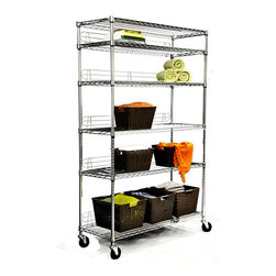 Trinity - TRINITY NSF 6-tier Chrome Wire Shelving Rack - Get a step closer to finally organizing your garage with this tall wire rack shelving unit that has a range of uses. Its chrome-plated steel material makes it sturdy enough for heavy items and ideally suited to a garage or storage closet.