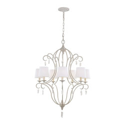 Murray Feiss - Murray Feiss Caprice Transitional Chandelier X-WKHC7/3392F - The Caprice Collection reflects the look of casual, coastal design starting with its Chalk Wash finish. This soft look is complemented by the relaxed, Belgium linen shades and the Selenite rough-cut crystals (which are removable) which add to the nature-inspired design. Reminiscent of the shoreline, the delicate arms represent waves washing ashore and the crown on the chandeliers emulates a setting sun. Natural crystals included.