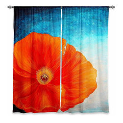 "DiaNoche Designs - Window Curtains Lined - Tara Viswanathan Poppy - Purchasing window curtains just got easier and better! Create a designer look to any of your living spaces with our decorative and unique ""Lined Window Curtains."" Perfect for the living room, dining room or bedroom, these artistic curtains are an easy and inexpensive way to add color and style when decorating your home.  This is a woven poly material that filters outside light and creates a privacy barrier.  Each package includes two easy-to-hang, 3 inch diameter pole-pocket curtain panels.  The width listed is the total measurement of the two panels.  Curtain rod sold separately. Easy care, machine wash cold, tumbles dry low, iron low if needed.  Made in USA and Imported."