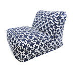 Majestic Home - Outdoor Navy Blue Links Bean Bag Chair Lounger - The progeny of a beanbag chair and a patio lounger, this casual kickback chair takes loafing to a new level, with a long seat for putting your feet up, an angled back for support, and all that cushy beanbag filling to mold around your form. It comes with a fun modern print cover that's treated for outdoor use and easy to remove and clean. Perfect for the family room, media room, den or deck.