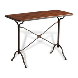 Kathy Kuo Home - Sydney Industrial Loft Contemporary Iron Wood Metal Console Table - Industrial can be elegant.  This sentiment is perfectly exemplified by NYC's iconic Flatiron building and is also found in the delicate lines of the Sydney console.  Crafted from raw iron and natural wood,  this table is inviting and utilitarian in equal measure.