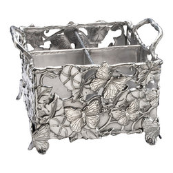 Arthur Court - Butterfly Flatware Caddy - Approved access: This stunning flatware caddy is beautifully designed, portable and highly functional. With four compartments and two handles for carrying, you'll have everything well in hand for your next party.