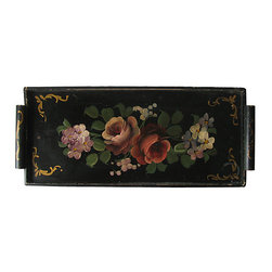 Consigned - Vintage Hand-Painted Black Wood Tray - Handpainted two-handled vintage tray from the 1940s with two handles and a floral motif. No marks.