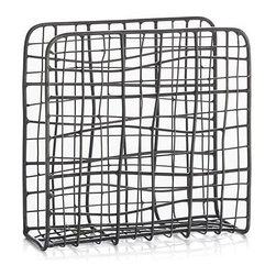 Bendt Wire Napkin Holder - Upright wire napkin holder takes a relaxed approach with a fun, casual weave with a warm antique brass finish.