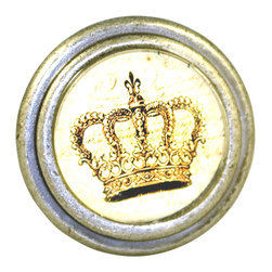 Charleston Knob Company - Set of 2 Vintage Pewter & Glass Knobs - King's Crown - Our metropolitan french pewter are acclaimed by designers for their original art and design. Place some of these on a neutral-toned cabinet, stand back