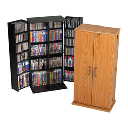 Prepac - Prepac Black Medium Deluxe Media Storage Cabinet with Lock - Keep your growing collection safe from prying eyes and sticky fingers with the tall locking media storage cabinet. Fully adjustable shelves can be set to any position to accommodate your collection, and horizontal media storage enables easy sorting, filing and re-filing of your collection as it grows. Off-set hinge points allow 180 degree movement for better display and access to door storage. It's a great addition to any room.
