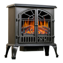 None - Lofty Galway Electric Stove Heater - This Galway free standing electric stove combines colonial craftsmanship with modern convenience. Realistic log flames emit a warm glow and the adjustable settings for brightness and temperature mean the heater can be adapted for any living space.