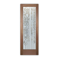 """Interior Glass Doors - Forest Trees Pinstripe - CUSTOMIZE YOUR INTERIOR GLASS DOOR!  Interior glass doors ship for just $99 to most states, $159 to some East coast regions, custom packed and fully insured with a 1-4 day transit time.  Available any size, as interior door glass insert only or pre-installed in an interior door frame, with 8 wood types available.  ETA will vary 3-8 weeks depending on glass & door type.........Block the view, but brighten the look with a beautiful interior glass door featuring a custom frosted glass design by Sans Soucie!   Select from dozens of sandblast etched obscure glass designs!  Sans Soucie creates their interior glass door designs thru sandblasting the glass in different ways which create not only different levels of privacy, but different levels in price.  Bathroom doors, laundry room doors and glass pantry doors with frosted glass designs by Sans Soucie become the conversation piece of any room.   Choose from the highest quality and largest selection of frosted decorative glass interior doors available anywhere!   The """"same design, done different"""" - with no limit to design, there's something for every decor, regardless of style.  Inside our fun, easy to use online Glass and Door Designer at sanssoucie.com, you'll get instant pricing on everything as YOU customize your door and the glass, just the way YOU want it, to compliment and coordinate with your decor.   When you're all finished designing, you can place your order right there online!  Glass and doors ship worldwide, custom packed in-house, fully insured via UPS Freight.   Glass is sandblast frosted or etched and bathroom door designs are available in 3 effects:   Solid frost, 2D surface etched or 3D carved. Visit our site to learn more!"""