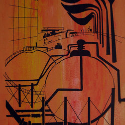 Consigned Vintage 1960s Industrial Serigraph - Bold and colorful serigraph of a Texas oil refinery, circa 1960, in very good condition. Unsigned and unframed.