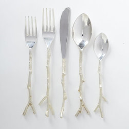 Twig Flatware 5-Piece Set, Silver - How darling is this twig flatware? It may be a bit of a silly splurge, but it's still so perfect for fall.