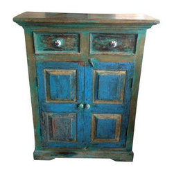 Distressed Painted Wood Cabinet - Dimensions 38.0ʺW × 14.0ʺD × 49.0ʺH