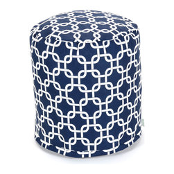 Majestic Home - Indoor Navy Blue Links Small Pouf - The classic beanbag just got better, now in a cute pouf version perfect for your bedroom, dorm suite or chick cave. It's made of durable cotton twill, and that chain pattern in your choice of colors couldn't be more fabulous.