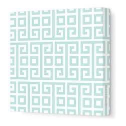 "Avalisa - Pattern - Squares Stretched Wall Art, 12"" x 12"", Sea Green -"