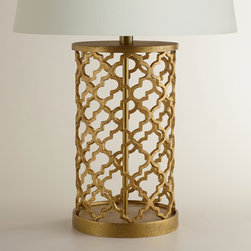 World Market - Distressed Gold Moroccan Table Lamp Base - Brighten any nightstand, side table or desktop with the exotic appeal of our exclusive Distressed Gold Moroccan Table Lamp Base. Crafted by artisans in India of cast metal, it features a sophisticated distressed gold finish - variations in its design mark it as truly unique. Pair this alluring lamp base with any of our mix-and-match table lamp shades to complete its appeal.