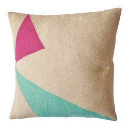 Lucent Shadow Pillow - The bright colors and bold geometric shapes on these pillows have been inspired by the science of light. The pillows are hand-embroidered by women artisans in north India.