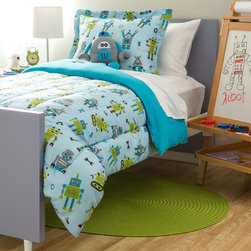 None - Kids Collection Robot 4-piece Comforter Set - Transform your child's room into a bedroom of the future with this robot styled comforter set. Made of polyester,this comfoter set is machine washable and comfortable.