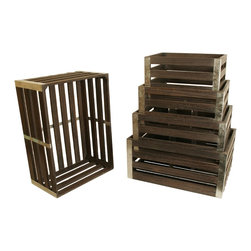 None - Distressed Wood Crates (Set of 5) - Honest,natural,and a bit countrified describe these unpretentious wood crates. The galvanized metal trim gives the right amount of refinement when needed.