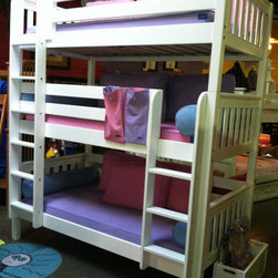 Triple Bunk Bed - Rub a dub dub three kids in a tub, or in this case, three kids in a bunk bed! But wait, you can add even one more ...there is a trundle option and then it will sleep four. Now this is hard to believe; it is available in a full over full over full bunk bed which means...you could, God bless you if you do, but you really could sleep seven. You can also choose this collection in a natural birch or Chestnut finish. Includes: all 3 bunk beds, 4 guardrails, 2-ladders, and Euro-slats. Be sure to ask one of our personal shoppers how this loft bed can grow with your child! The weight capacity per bed is 800 pounds.