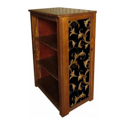 "Kelseys Collection - Book cabinet 3 shelf Leaf Scroll - Book cabinet in solid radiata pine features three adjustable  storage shelves with two Wallpaper prints on the side panels, named ""Leaf Scroll"". Dimensions are 33BY22BY12 Net weight 20 pounds. Three adjustable shelves. Estimated assembly time 20 minutes."