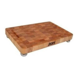 John Boos - Non-Reversible Cutting Board in Maple Finish - Includes stainless steel bun feet. Hard maple end grain construction. Non-reversible cutting board