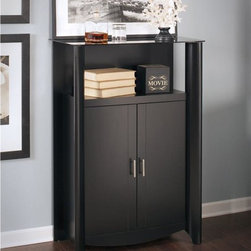 Bush - 2-Door Medium Library Storage - Adaptable and contemporary design. Attractive and durable tinted glass top shelf. Two adjustable shelves. Open compartment at top. Attractive, quarter-turned legs. Rounded corners. Chrome plated metal door. Wipe clean. Warranty: One year. Made from particleboard and laminates. Classic black finish. 31.38 in. W x 15.35 in. D x 45.11 in. H (85 lbs.). Installation GuideFor books, personal items or unique displays, the Bush Furniture Aero Collection Black 2-Door Medium Library Storage lets you show anything with panache. Works at home as a curio cabinet or in an office as a combination bookshelf and storage unit. Small footprint allows room-placement flexibility.