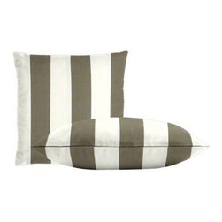 "Cushion Source - Bistro Driftwood Outdoor Throw Pillow Set - The Bistro Driftwood Outdoor Throw Pillow Set consists of two 18"" x 18"" throw pillows featuring classic bistro-inspired stripes in white and taupe."