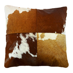 "BrandWave - Natural Cow Hide Pillows, 18"" Square, Tan and White - This beautiful collection of pillows is hand-made from some of the finest Indian cowhide. Each piece is a one-of-a-kind work of art. The material is all natural and selected individually for the perfect color and texture. India is a Hindu state, and cows are sacred. As cows die from natural causes, the Indian government collects the leather, and we are able to implement it into our products."