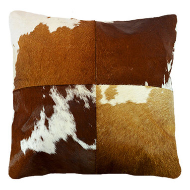 """BrandWave - Natural Cow Hide Pillows, 18"""" Square, Tan and White - This beautiful collection of pillows is hand-made from some of the finest Indian cowhide. Each piece is a one-of-a-kind work of art. The material is all natural and selected individually for the perfect color and texture. India is a Hindu state, and cows are sacred. As cows die from natural causes, the Indian government collects the leather, and we are able to implement it into our products."""