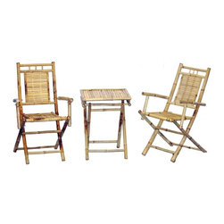 Bamboo54 - Bamboo 3-Piece Bistro Set - 3 Piece bamboo bistro set is so convenient, just open the box, unfold the chairs and table and you are good to go. Transportable, just fold them up and store away when not in use. Chairs are 5108 models, table is 5205 model.