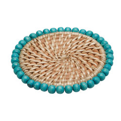 Round Rattan Coasters with Wood Beads, Set of 4