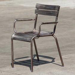Marcel Armchair Gunmetal Dining Chair - This dining chair by Nuevo is part of their Marcel collection and comes in a gunmetal finish.